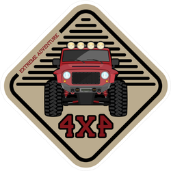 Red Off Road Jeep 4x4 Sticker