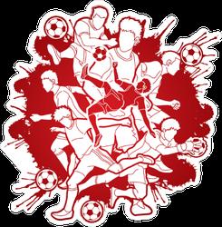 Red Paint Splatter Soccer Composition Sticker