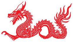 Red Paper Cut Out Of A Dragon China Zodiac Sticker