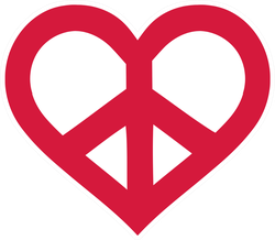 Red Peace Sign Heart Sticker