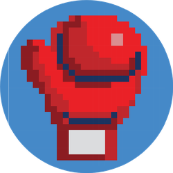 Red Pixelated Boxing Glove On Blue Sticker