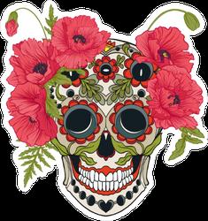 Red Poppy Sugar Skull Sticker