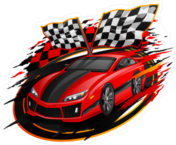 Red Racing Car Finish Line Sticker