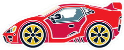 Red Racing Car Sticker
