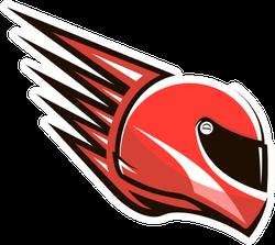 Red Racing Helmet Logo Sticker