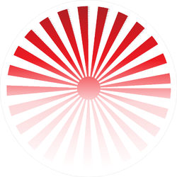 Red Rising Sun Rays Circle Sticker