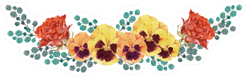 Red Rose And Pansy Flowers Decorative Illustration Sticker