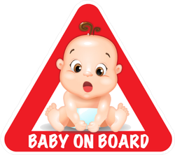 Red Triangle Road Safety Baby on Board Sticker