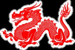 Red Tribal Dragon Sticker