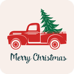 Red Truck With A Christmas Tree Sticker