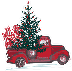 Red Truck With Christmas Tree And Gifts Sticker