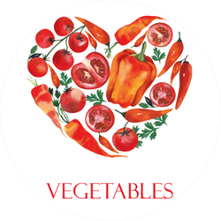 Red Vegetables Heart Sticker
