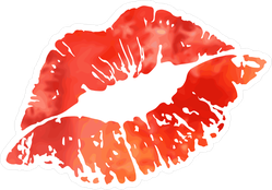 Red Watercolor Kiss Lips Sticker