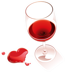 Red Wine Heart Shape Spill Sticker