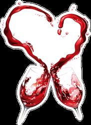 Red Wine Heart Sticker