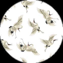 Repeating Japanese Crane Pattern Sticker