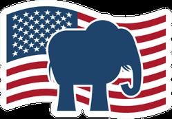 Republican Elephant And Us Flag Sticker