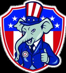 Republican Elephant Mascot Shield Sticker