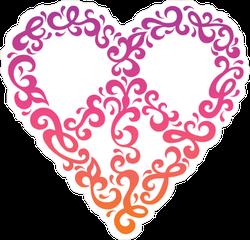 Retro 60s Heart PeaceSign Sticker