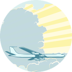 Retro Airplane Flying In The Clouds Color Sticker