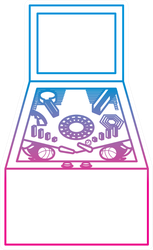 Retro Arcade Pinball Game Line Sticker