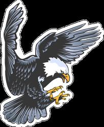 Retro Attacking Eagle Sticker