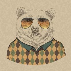 Retro Bear Portrait In Sunglasses And Pullover Sticker