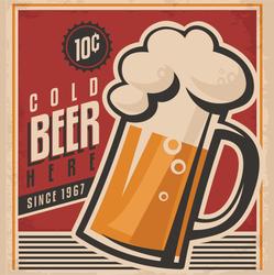 Retro Beer Poster Sticker