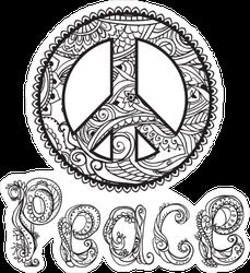 Retro Black and White Peace Sign Sticker