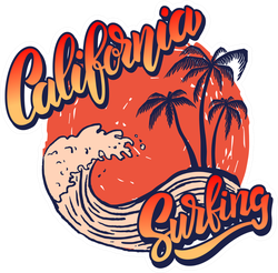 Retro California Surfing Sticker