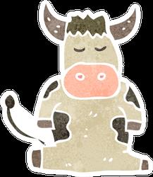 Retro Cartoon Cow Sitting Sticker
