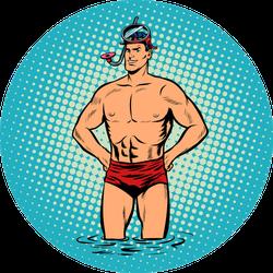 Retro Diver Lifeguard Male In Swimming Trunks Sticker