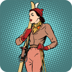Retro Girl Skier Sticker
