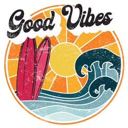 Retro Good Vibes California Surf Sticker