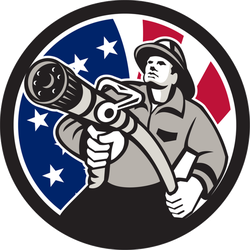 Retro Illustration Of American Firefighter Sticker