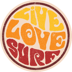Retro Live Love Surf Circle Sticker