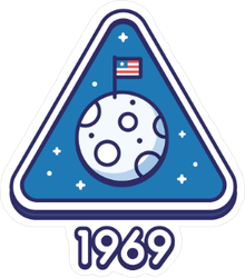 Retro Moon Landing Triangle Sticker