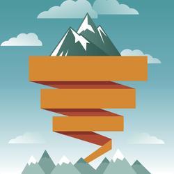 Retro Mountains With Ribbon Sticker