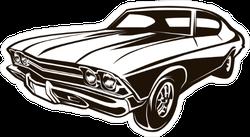 Retro Muscle Car Illustration Sticker