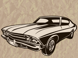 Retro Muscle Car Wrinkled Paper Sticker