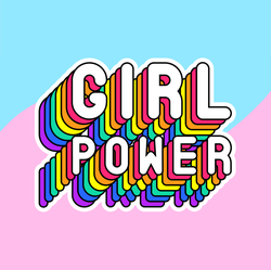 Retro Rainbow Girl Power Sticker