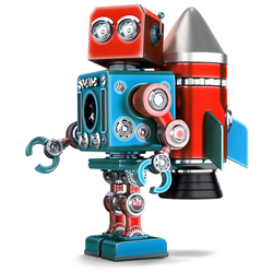 Retro Robot With Jetpack Sticker