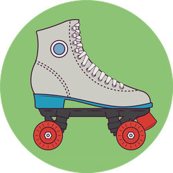 Retro Roller Skates Illustration Sticker