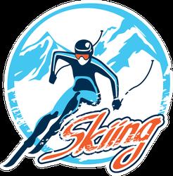 Retro Skiing Badge Sticker