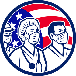 Medical Healthcare Workers As US Heroes Retro Sticker