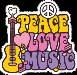 Retro Style Peace Love Music Hippie Sticker