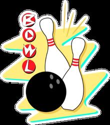 Retro Styled Bowling Art Sticker