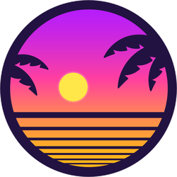 Retro Sunset With Palm Trees Sticker