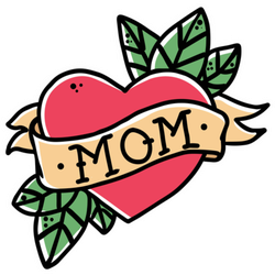 Retro Tattoo Style Heart With Ribbon And Mom Sticker