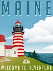Retro Travel Maine Sticker